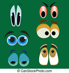 big eyes - six different styles of big eyes in a green...
