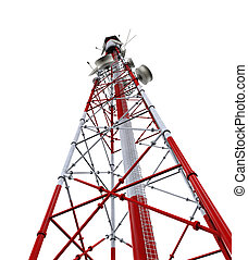 Communication Tower with Antennas isolated on white...