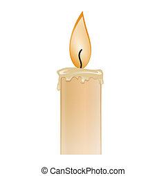 Ilustracja, płonący, świeca, wosk