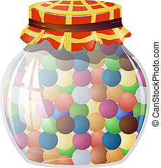 Glass jar with round sweets