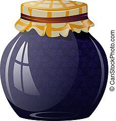 Glass jar with blueberry jam