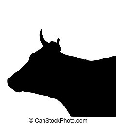 Black silhouette of the head of a cow