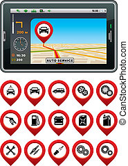 GPS navigator with the pointer autoservice.