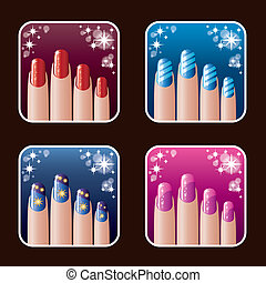 Set of icons of womens manicure vector, gradient,...