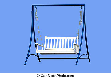 Swing on Frame - Wooden swing on frame isolated