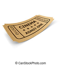 Cinema ticket isolated on white. - Cinema ticket in retro...
