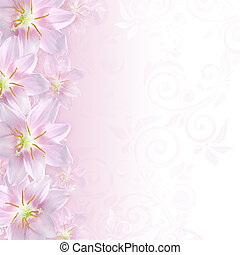 Greeting or invitation card background with pink lily...