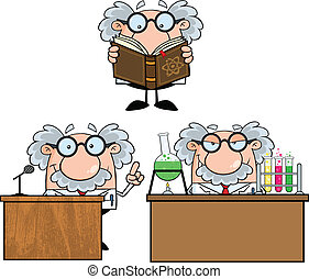 profesor, científico, o, Colección,  6