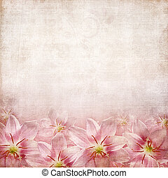 old paper texture with lily - old paper texture with lilies...