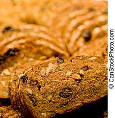 Grain and Fruit Bread - Fresh sliced bread with whole grains...