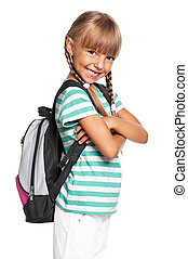 Little girl with backpack - Happy little girl with backpack...