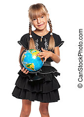 Little girl with globe - Happy little girl with globe of the...