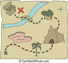 Treasure Map - Illustration of hand drawn treasure map with...