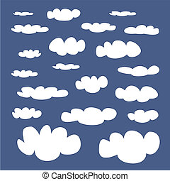 White clouds on blue sky vector set