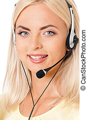 Call center operator - Woman customer service worker, call...