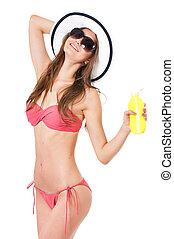 Girl in bikini - Pretty blonde girl posing in bikini summer...