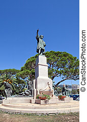 Monument for Christopher Columbus 1914 in Rapallo, Italy -...