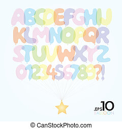 Set of Ballon Vector Alphabet and Numbers Editable