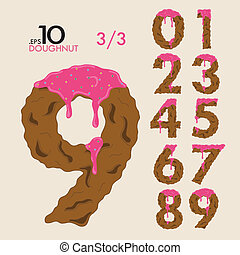 Set of Cake Doughnut Vector Numbers 0-9 Editable