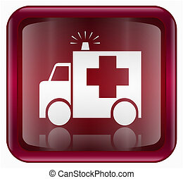 First aid icon red, isolated on white background.