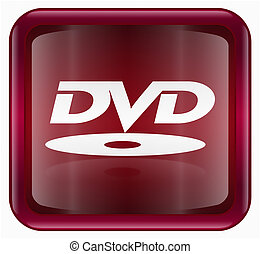 DVD icon, red, isolated on white background