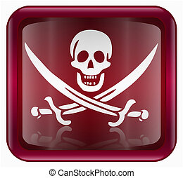 Pirate icon red, isolated on white backround