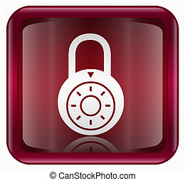 Lock off icon red, isolated on white background