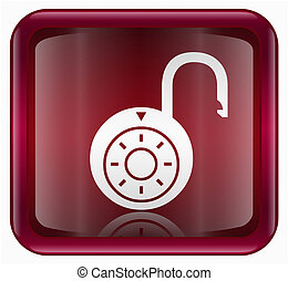 Lock on icon red, , isolated on white background