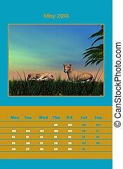 Może,  2014, Kalendarz,  -,  safari