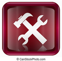 Tools icon red, isolated on white background.