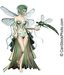 Green Dragonfly Fairy - Fairy with green hair and dress and...