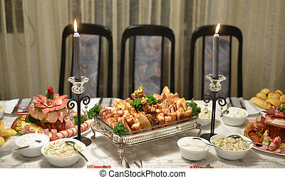 Tasty gourmet food,cold cuts on a table