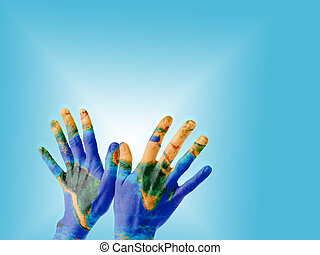 Hands with Earth texture - A pair of hands on a bird-kind...