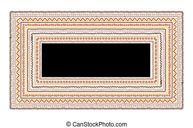 Frame with ethnic handmade ornament for your design