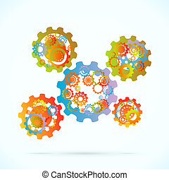 Abstract gearing - Colored cogwheels vector abstract gearing...