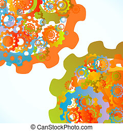 Abstract synchronization - Colored cogwheels vector abstract...