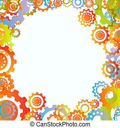 Abstract frame - Colored cogwheels vector abstract tree