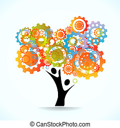Abstract tree - Colored cogwheels vector abstract tree