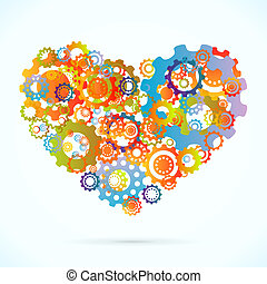 Abstract heart - Colored cogwheels vector abstract heart