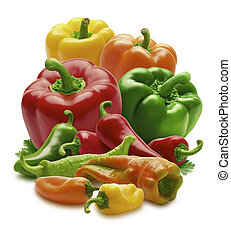 Group of Peppers isolated on a white background
