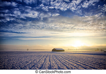 Hut in the Black Forest - Hut at sunrise, winter with snow...