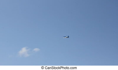 Propeller airplane in the sky 8990