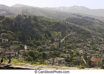 View of Gjirokaster from the castle, Albania - Gjirokastër...