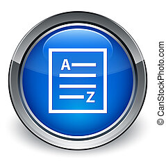 a to z list icon glossy blue button