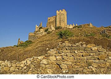 Castillo de Xivert, templar castle near the town Alcal? in...