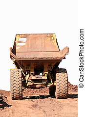 Dumptruck rearview - A rearview of a large dumptruck