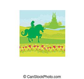 princess riding a horse into the castle