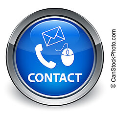 Contact us (mouse, phone and email) icon glossy blue button