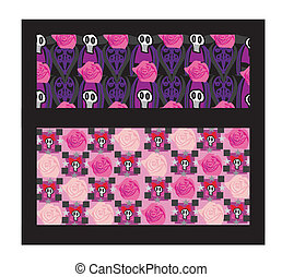 set of emo banners with skulls and roses