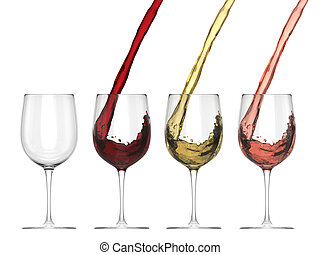 Wine Pouring Into Glass - Set - Isolated On White Background...